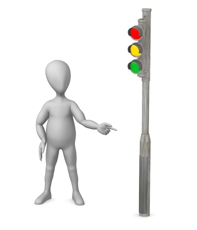 3d render of cartoon character with traffic light photo