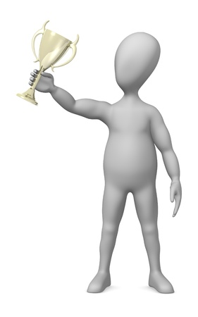 3d render of cartoon character with trophy photo