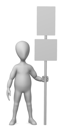 3d render of cartoon character with traffic sign photo