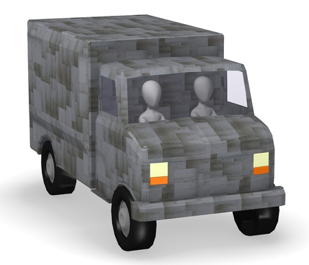 realtime: 3d render of cartoon character with truck