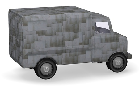 3d render of cartoon character with truck photo