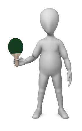 3d render of cartoon character with table tennis racket photo