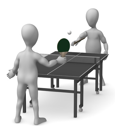 tenis: 3d render of cartoon characters playing table tenis Stock Photo