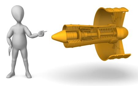 3d render of cartoon character with turbine photo