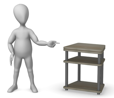vizualisation: 3d render of cartoon character with tv table