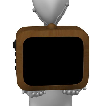 3d render of cartoon character with tv photo