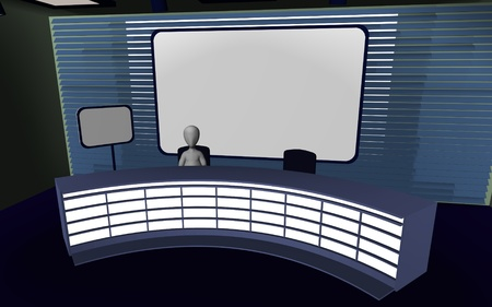 sports programme: 3d render of cartoon character in tv studio