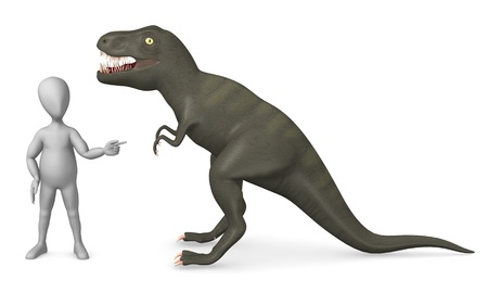 tyrannosaurs: 3d render of cartoon character with tyrannosaurus