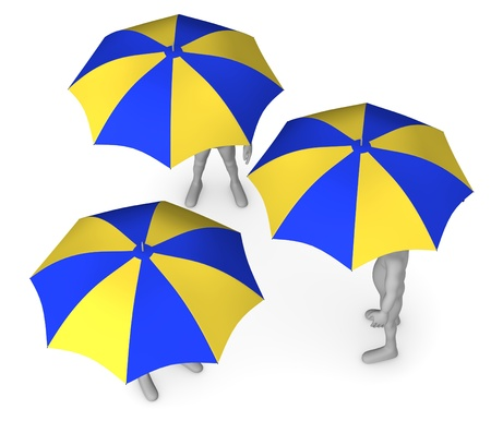 3d render of cartoon character with umbrella photo