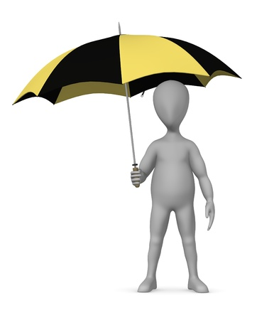 3d render of cartoon character with umbrella Stock Photo - 12970394