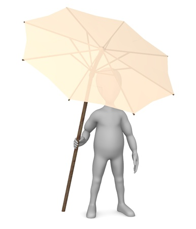 3d render of cartoon character with umbrella Stock Photo - 12970130