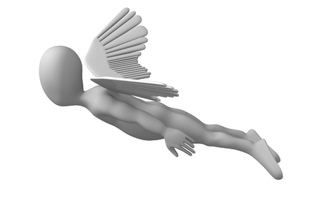 3d render of cartoon character with wings