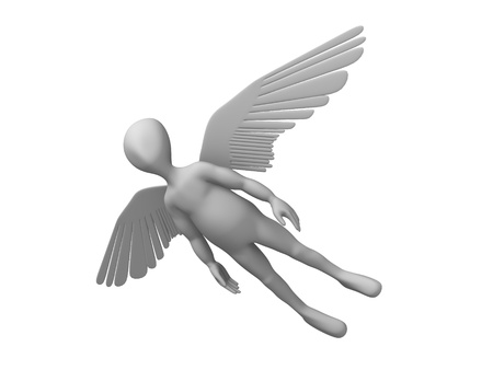 stockie: 3d render of cartoon character with wings