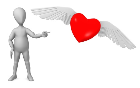 3d render of cartoon character with winged heart photo