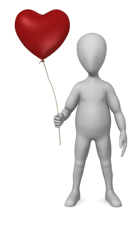 3d render of cartoon character with balloon photo
