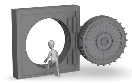 3d render of cartoon character with vault photo