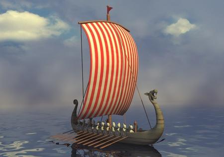 vikingo: 3d rinden de personaje de dibujos animados con el barco vikingo Foto de archivo