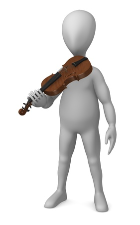 3d render of cartoon character with violin Stock Photo