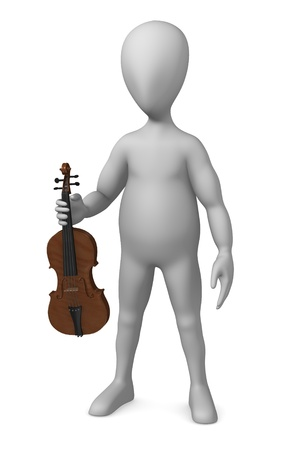 strains: 3d render of cartoon character with violin Stock Photo