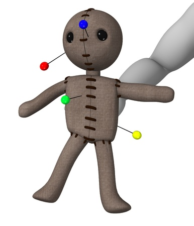 vodoo: 3d render of cartoon character with voodoo Stock Photo