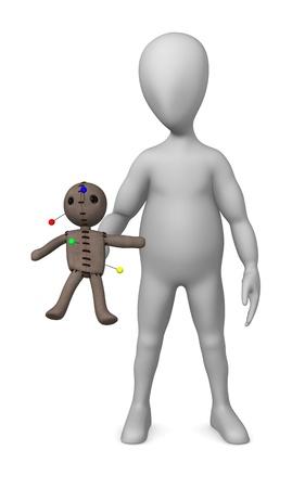 3d render of cartoon character with voodoo photo