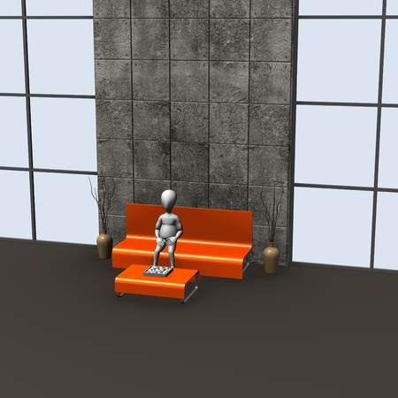 3d render of cartoon character in waiting room  photo