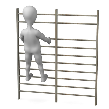 wall bars: 3d render of cartoon character with wall bars