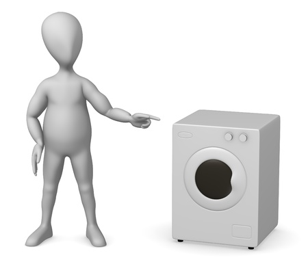 3d render of cartoon character with wash machine photo