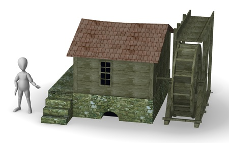 water mill: 3d render of cartoon character with water mill Stock Photo