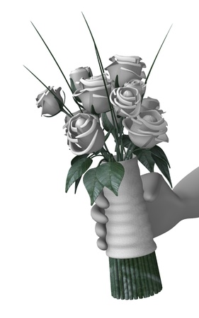3d render of cartoon character with wedding flower Stock Photo - 12967488