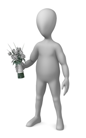 3d render of cartoon character with wedding flower Stock Photo - 12969234