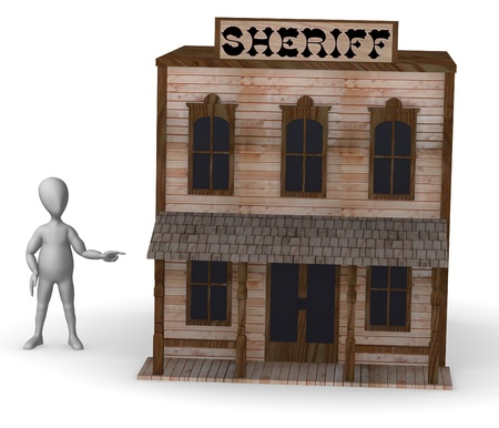 3d render of cartoon character with western house photo