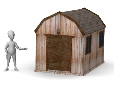 gold house: 3d render of cartoon character with western house