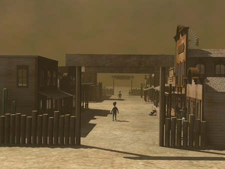 western town: 3d render of cartoon character in western town