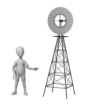 3d render of cartoon character with windmill photo