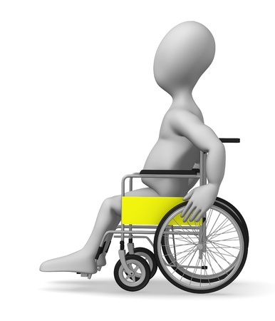 medical equipment: 3d render of cartoon character with wheel chair