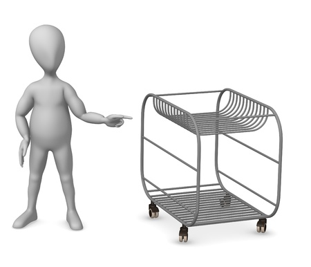 3d render of cartoon character with wheel table photo
