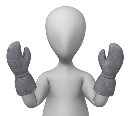 3d render of cartoon character with winter glove photo