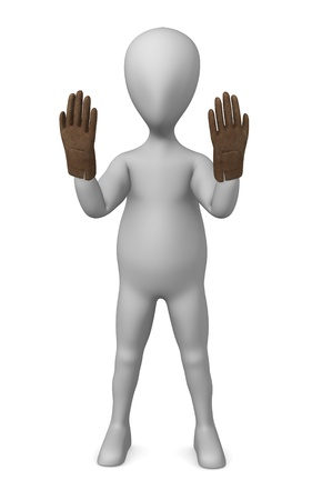 robbery: 3d render of cartoon character with winter glove