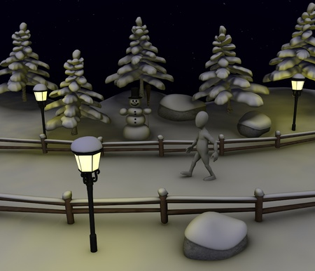 3d render of cartoon character in winter scene  photo