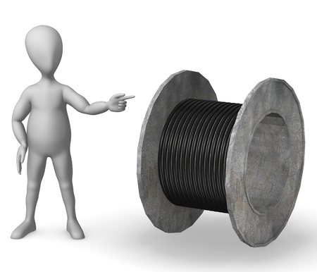 inductor: 3d render of cartoon character with wire spool Stock Photo
