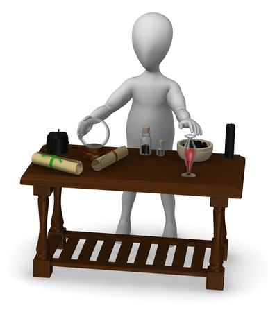 3d render of cartoon character with witch table photo