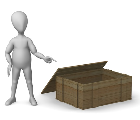 3d render of cartoon character with wooden box Stock Photo - 12967657