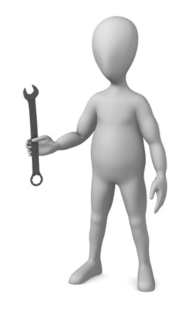 3d render of cartoon character with wrench photo