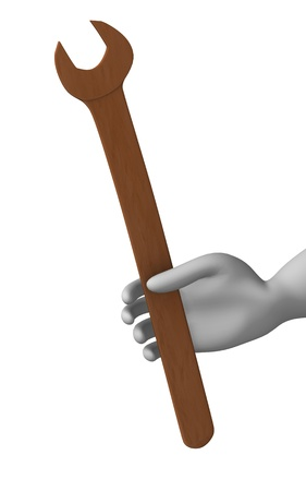 3d render of cartoon character with wrench Stock Photo - 12970630