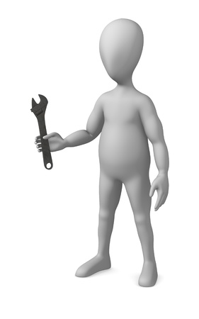 winder: 3d render of cartoon character with wrench Stock Photo
