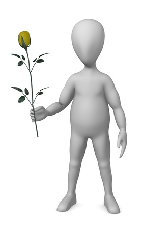 3d render of cartoon character with yellow rose photo