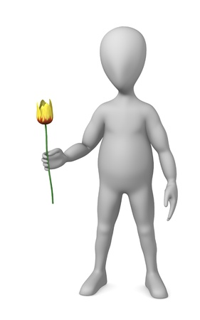 3d render of cartoon character with yellow tulip Stock Photo - 12970185