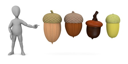 stockie: 3d render of cartoon character with acorn