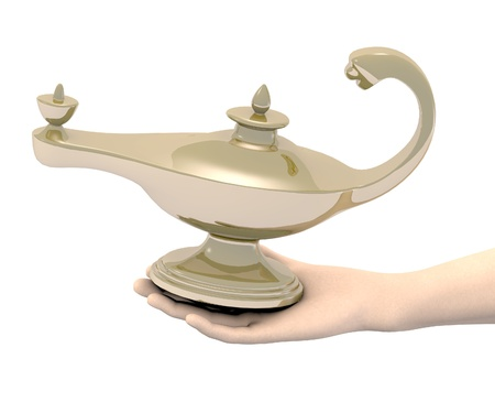 aladin: 3d render of hand with aladin lamp